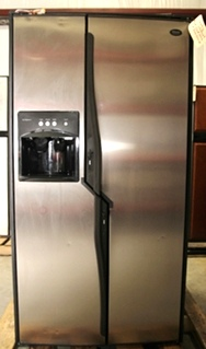 USED RV/MOTORHOME DOMETIC REFRIGERATOR 2 WAY SIDE BY SIDE FRIDGE STAINLESS MODEL: NDA1402 S/N: 802-00088