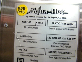 AQUA HOT HEATING SYSTEM AHE-100 04S FOR SALE USED - VISONE RV