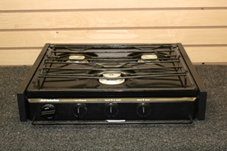 USEDSUBURBAN RV 3 BURNER BLACK COOKTOP WITH STRIKER PN: SC3BE