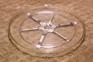 GLASS MICROWAVE TRAY WITH SUPPORT RING FOR SALE