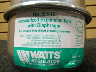 USED RV/MOTORHOME WATTS REGULATOR PRESSURIZED EXPANSION TANK