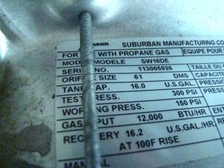 USED SUBURBAN 12,000 BTU RV/MOTORHOME WATER HEATER MODEL: SW16DE