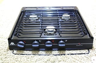 USED BLACK ATWOOD WEDGEWOOD VISION 3 BURNER COOK TOP C-V30BPN FOR SALE