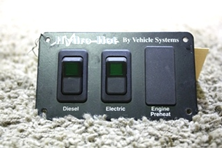 USED RV HYDRO-HOT BY VEHICLE SYSTEMS SWITCH PANEL FOR SALE