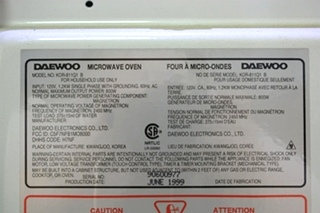 USED RV DAEWOO NEW COOKING MICROWAVE OVEN KOR-811Q1 B FOR SALE