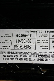 USED GC10A-E4 ATWOOD 10 GALLON WATER HEATER MOTORHOME APPLIANCES FOR SALE