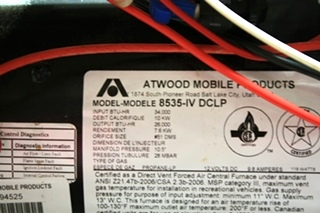 USED MOTORHOME ATWOOD 8535-IV-DCLP FURNACE FOR SALE