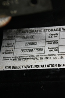 USED RV ATWOOD 6 GALLON G6A-8E WATER HEATER FOR SALE