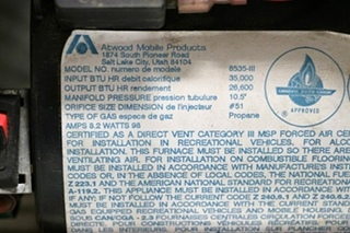 USED RV 35,000 BTU 8535-III ATWOOD FURNACE FOR SALE