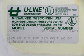 USED MOTORHOME U-LINE BCM95 BLACK ICE MAKER FOR SALE