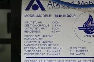 USED MOTORHOME 8940-III-DCLP ATWOOD 40,000 BTU FURNACE FOR SALE