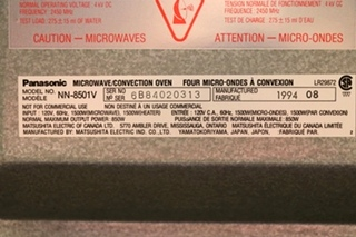 USED MOTORHOME NN-8501V PANASONIC DIMENSION 4 MICROWAVE / CONVECTION OVEN RV PARTS FOR SALE
