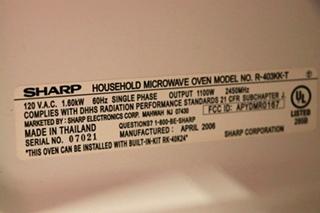 USED BLACK R-403KK-T MOTORHOME SHARP CAROUSEL MICROWAVE OVEN RV PARTS FOR SALE