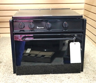 USED CLY1641BDB BLACK MOTORHOME MAGIC CHEF 3 BURNER OVEN RV PARTS FOR SALE
