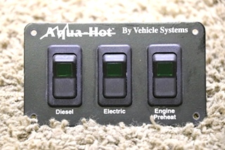 USED RV AQUA-HOT BY VEHICLE SYSTEMS 3 SWITCH PANEL MOTORHOME PARTS FOR SALE