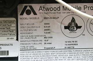 USED RV ATWOOD 8531-IV-DCLP FURNANCE MOTORHOME PARTS FOR SALE