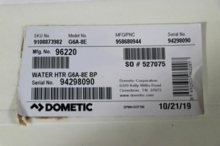 G6A-8E DOMETIC WATER HEATER FOR SALE